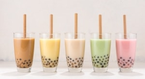 Bubble tea with tapioca pearls