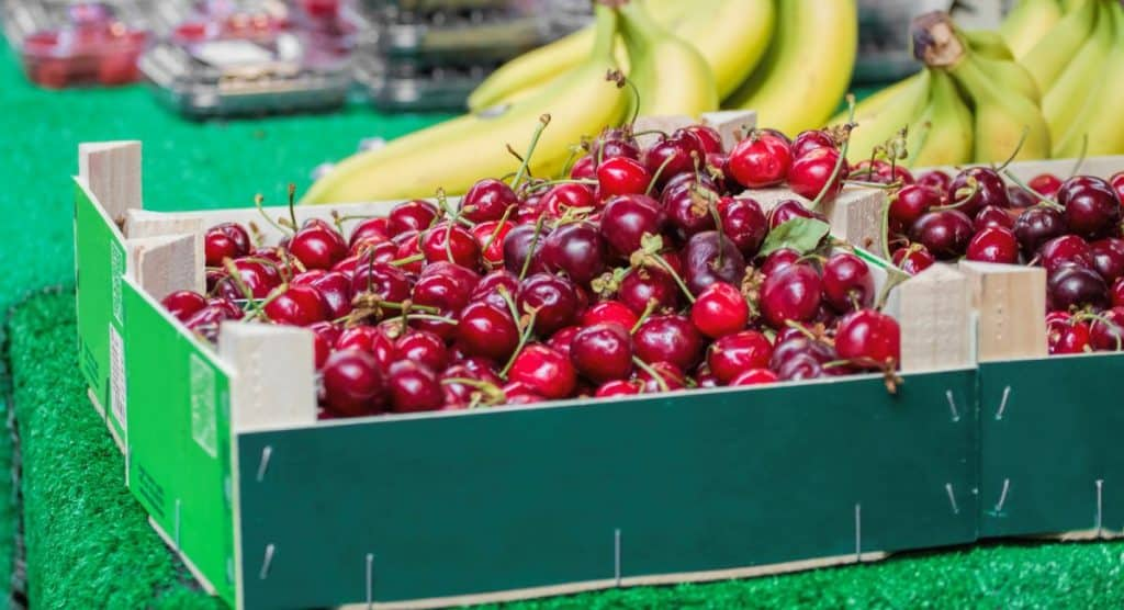 Cherries for sale in the supermarket