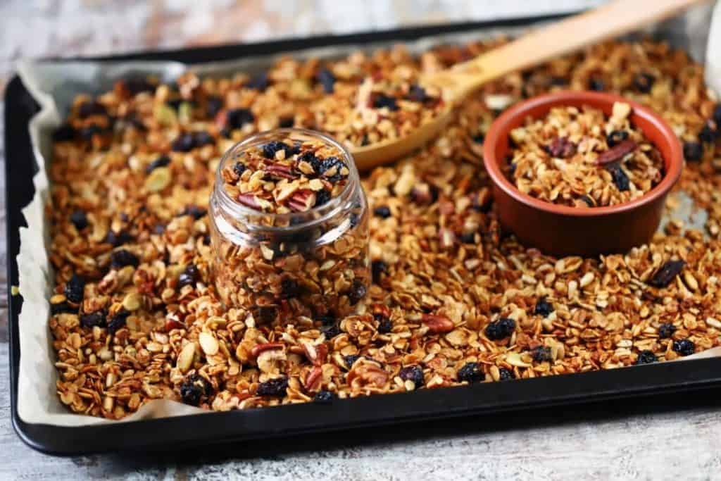 Granola recipe with leftover extra bits of this and that
